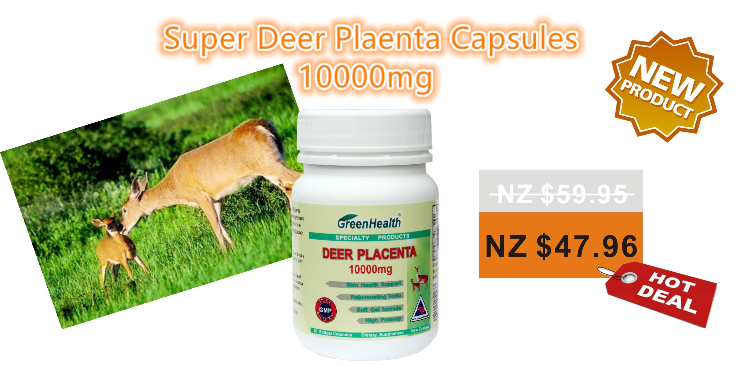 Deer Placenta 10000mg x 60 Capsules